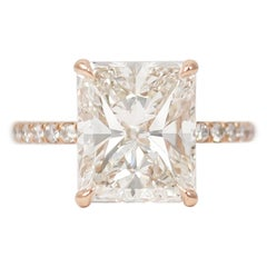 J. Birnbach 5.01 Carat Radiant Cut Diamond Ring