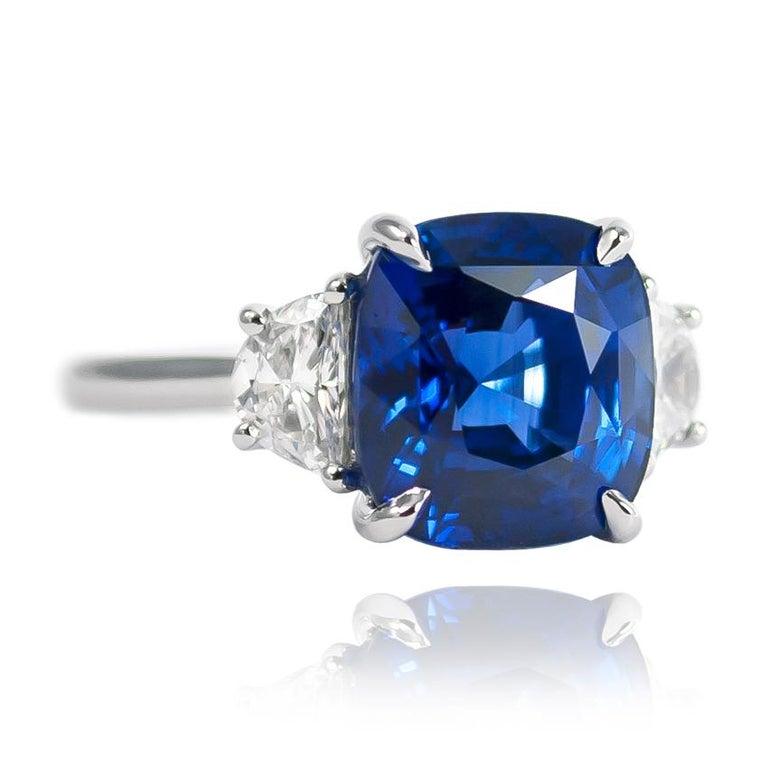 Cushion Cut J. Birnbach 5.06 Carat Sapphire Cushion and Diamond Three-Stone Ring For Sale