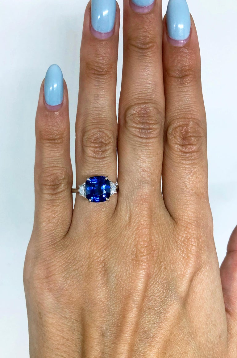 J. Birnbach 5.06 Carat Sapphire Cushion and Diamond Three-Stone Ring In New Condition For Sale In New York, NY