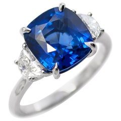 J. Birnbach 5.06 Carat Sapphire Cushion and Diamond Three-Stone Ring