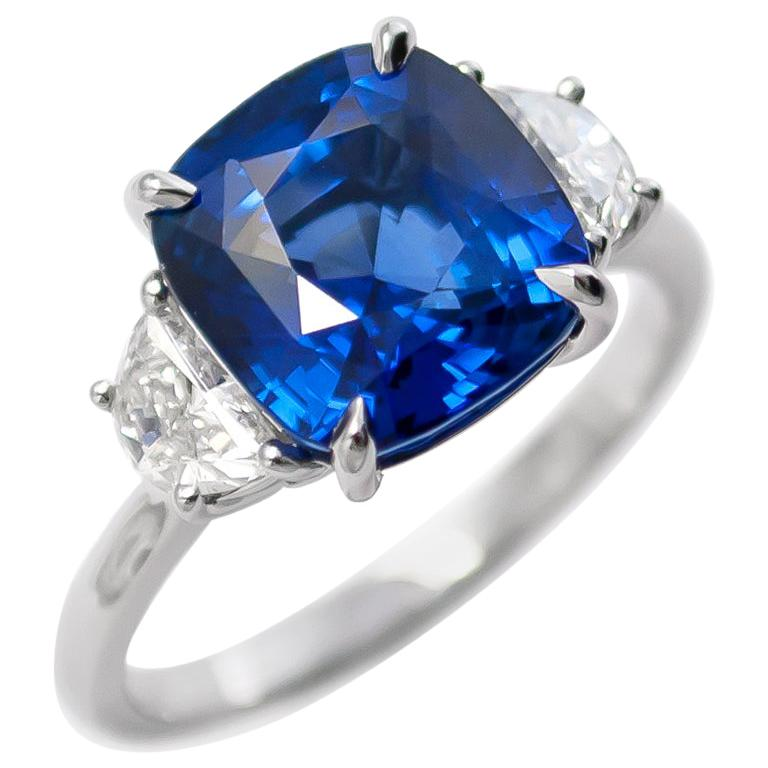 J. Birnbach 5.06 Carat Sapphire Cushion and Diamond Three-Stone Ring For Sale