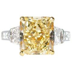 J. Birnbach 5.12 Carat Radiant Cut Fancy Light Yellow Diamond Ring