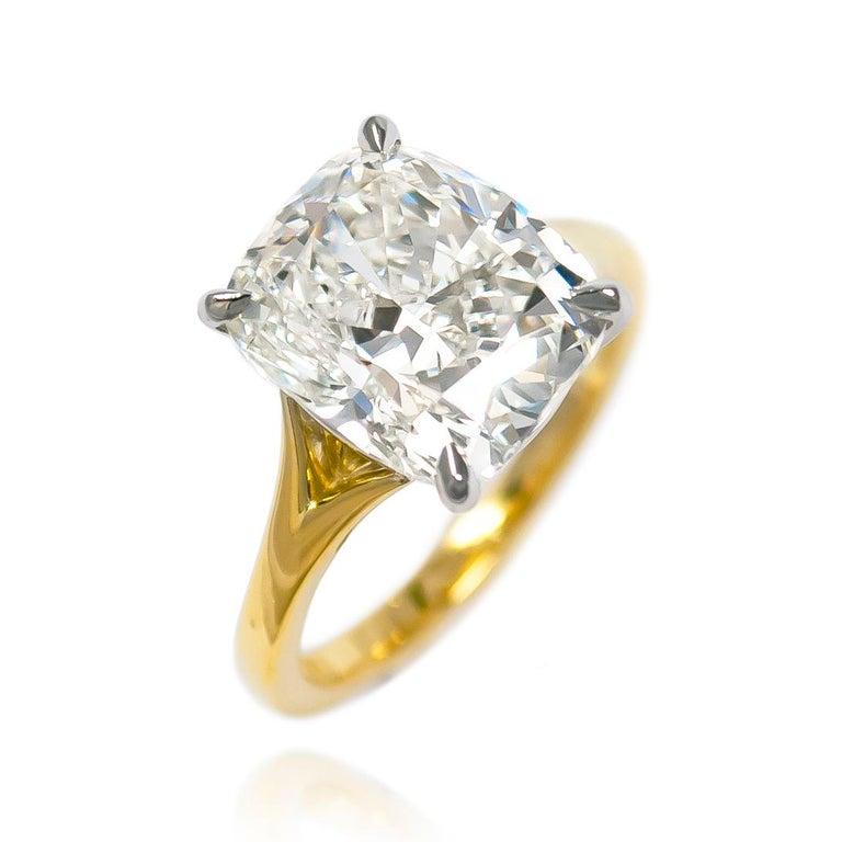Contemporary J. Birnbach 6.01 Carat Cushion Modified Brilliant Cut Diamond Solitaire Ring