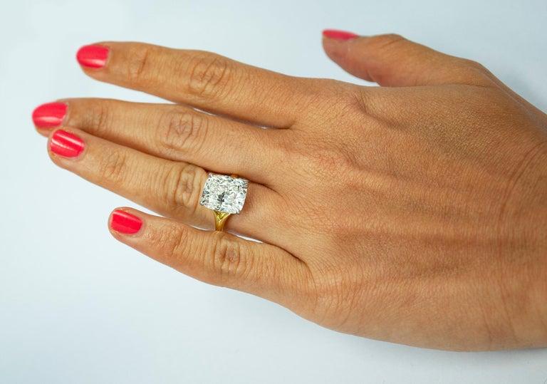Cushion Cut J. Birnbach 6.01 Carat Cushion Modified Brilliant Cut Diamond Solitaire Ring