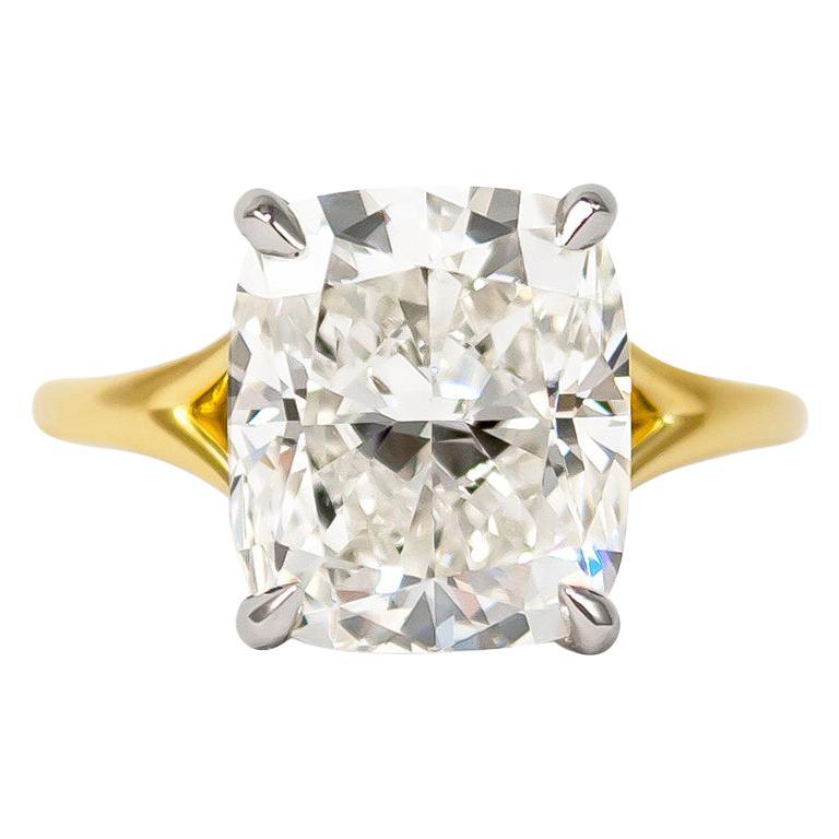 J. Birnbach 6.01 Carat Cushion Modified Brilliant Cut Diamond Solitaire Ring
