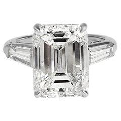 J. Birnbach 8.01 Carat Emerald Cut Diamond and Platinum Ring GIA Certified