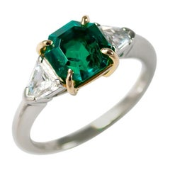 J. Birnbach AGL Certified 1.84 Carat Emerald and Diamond Three-Stone Ring
