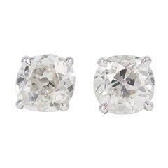 J. Birnbach Antique Cushion Cut Diamond Stud Earrings