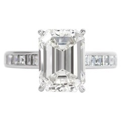 J. Birnbach GIA Certfied 4.08 Carat I VS1 Emerald Cut Diamond Ring