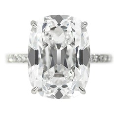 J. Birnbach GIA Certified 10.01 Carat Cushion Cut E VS2 Diamond Ring