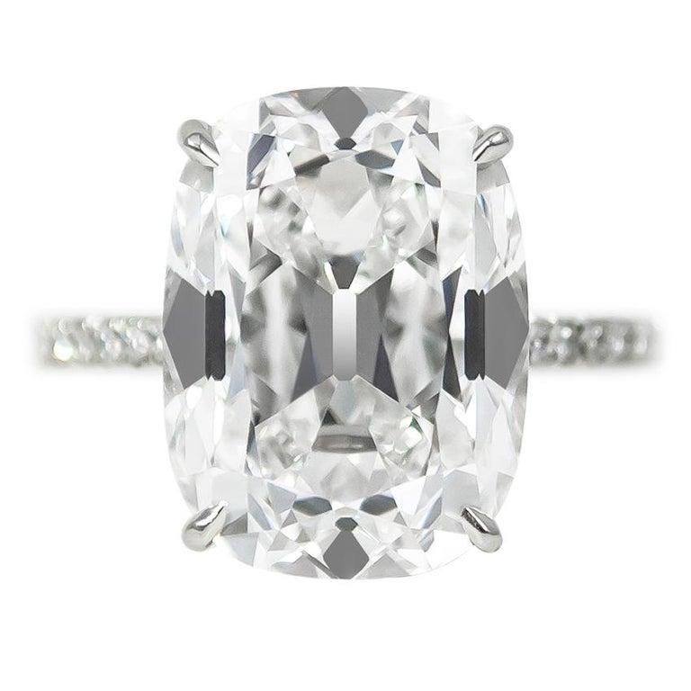 J. Birnbach GIA Certified 10.01 Carat Cushion Cut E VS2 Diamond Ring For Sale
