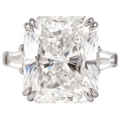 J. Birnbach GIA Certified 10.02 Carat D SI1 Radiant Cut Diamond Ring