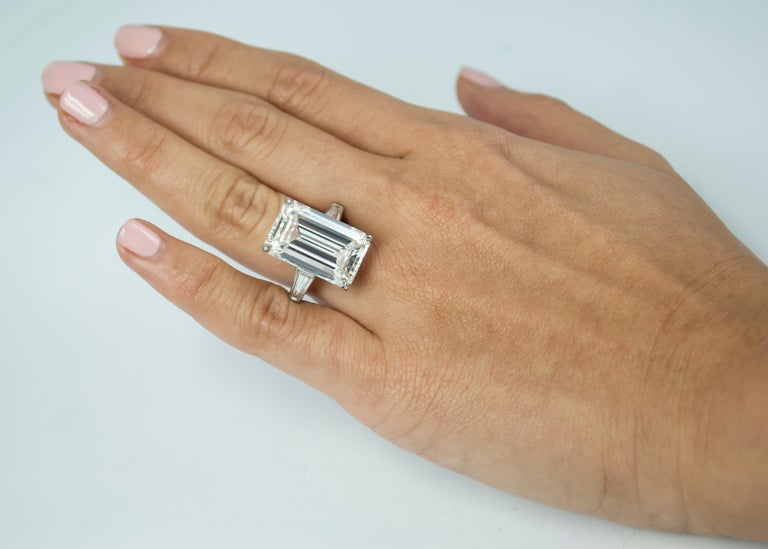 J. Birnbach GIA Certified 10.03 Carat J Color Emerald Cut Platinum Diamond Ring In New Condition For Sale In New York, NY
