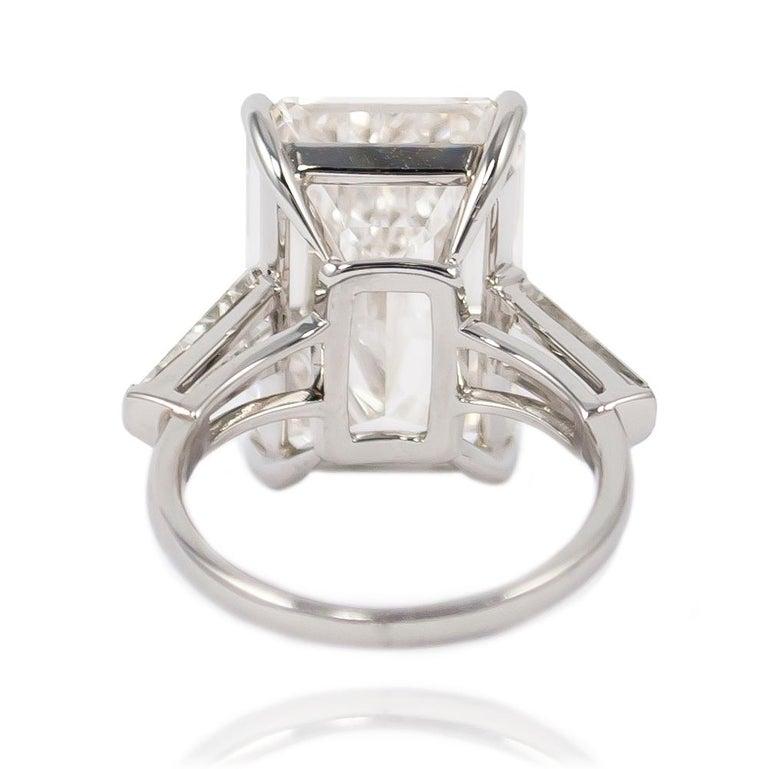 Women's or Men's J. Birnbach GIA Certified 10.03 Carat J Color Emerald Cut Platinum Diamond Ring For Sale