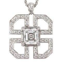 J. Birnbach GIA Certified 1.01 Carat Asscher Cut Diamond Art Deco Style Pendant