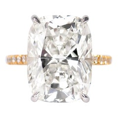 J. Birnbach GIA Certified 10.41 Carat Cushion Brilliant Cut Diamond Ring