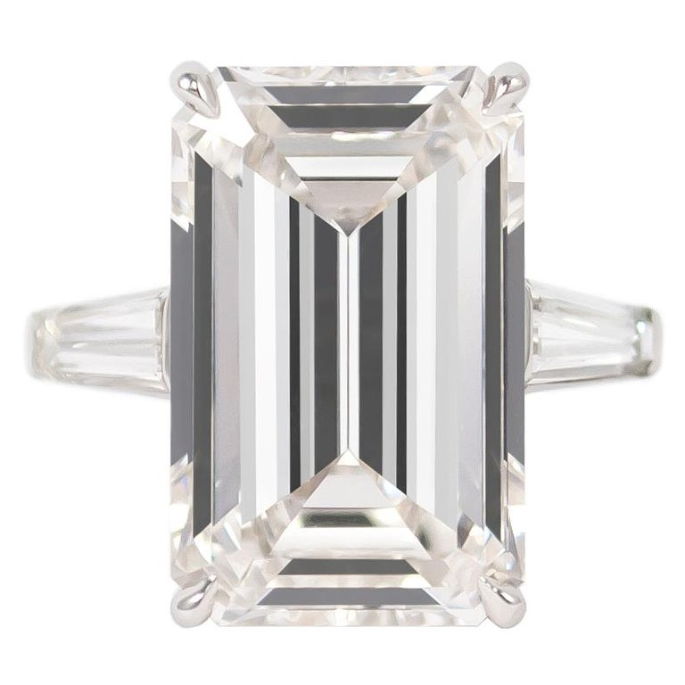 J. Birnbach GIA Certified 11.43 Carat H VS1 Emerald Cut Diamond Ring For Sale