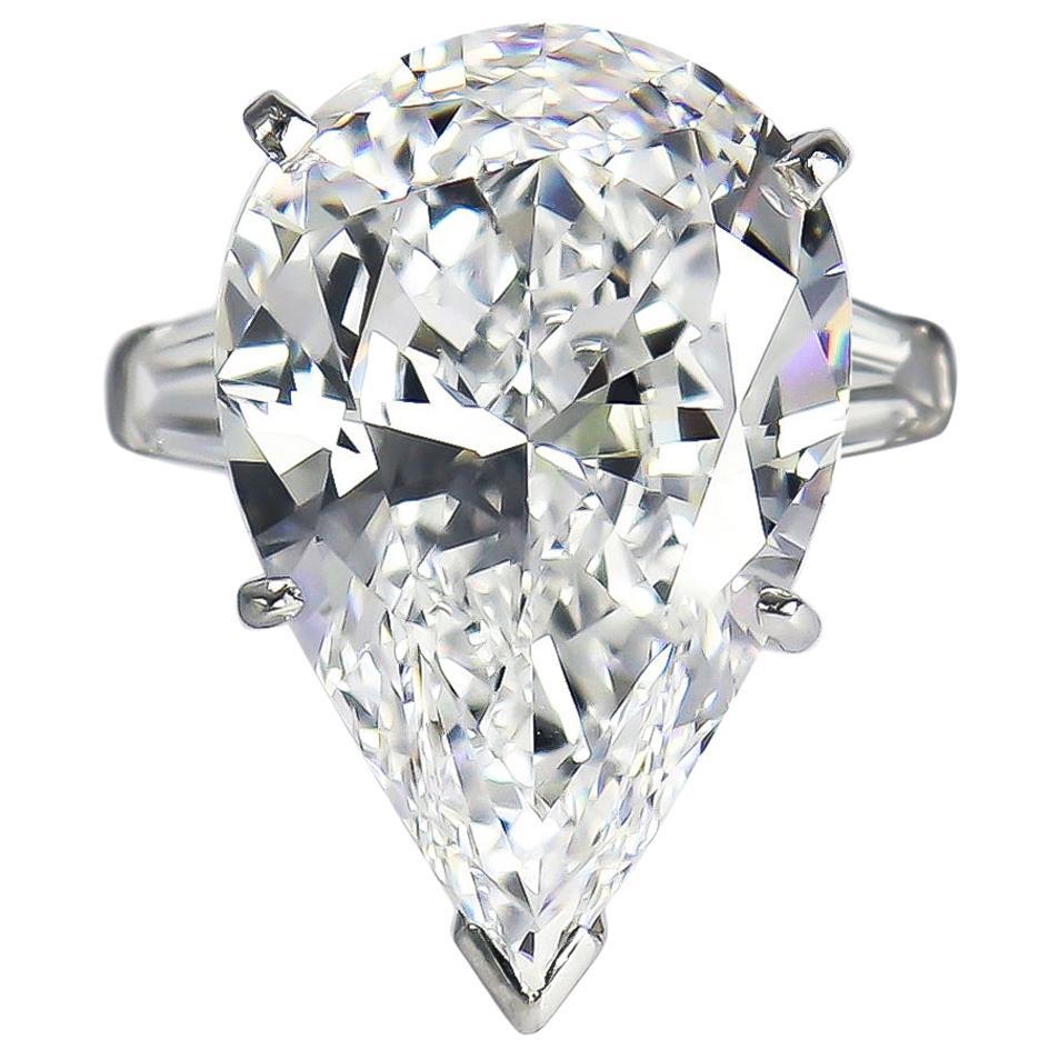 J. Birnbach GIA Certified 12.19 Carat D VVS1 Pear Brilliant Cut Diamond Ring