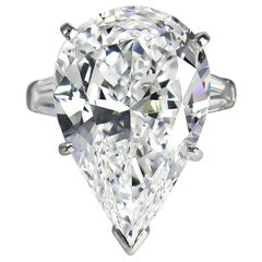 J. Birnbach GIA Certified 12.19 Carat D VVS1 Pear Brilliant Cut Diamond Ring