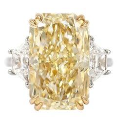 J. Birnbach GIA Certified 12.26 Fancy Yellow Radiant Diamond Three-Stone Ring