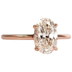 J. Birnbach GIA Certified 1.31 Carat Oval Diamond Rosé Solitaire Ring