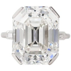 J. Birnbach GIA Certified 13.24 Carat Emerald Cut Diamond Ring