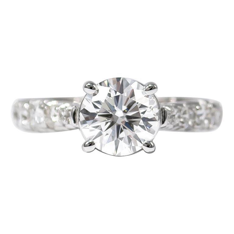 J. Birnbach GIA Certified 1.52 Carat Brilliant Round Diamond Ring