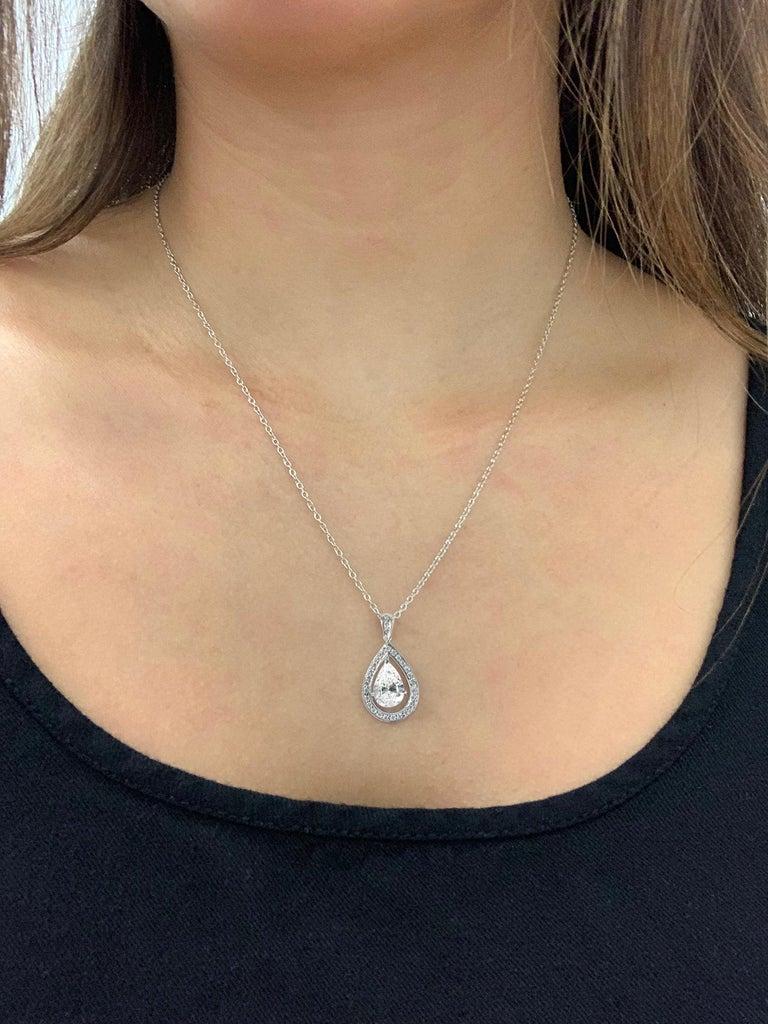 Contemporary J. Birnbach GIA Certified 1.52 Carat Pear Shape Diamond 18 Karat Gold Pendant For Sale