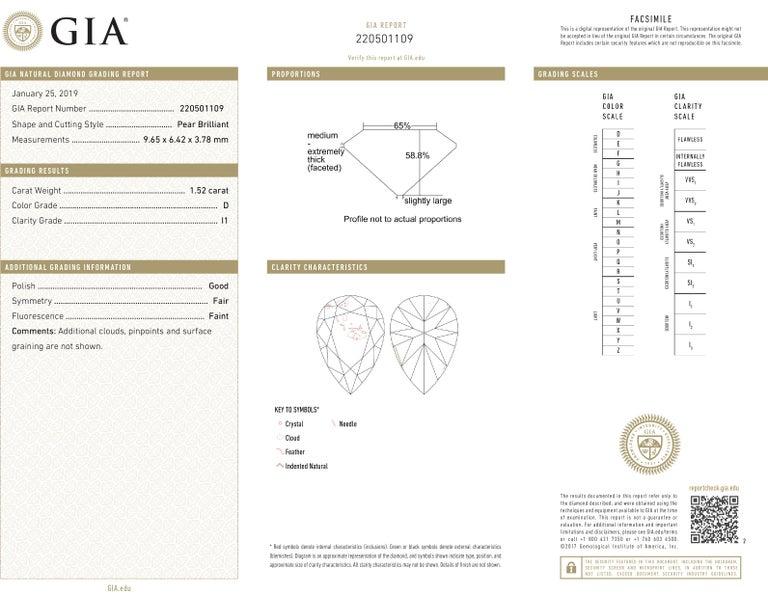 Pear Cut J. Birnbach GIA Certified 1.52 Carat Pear Shape Diamond 18 Karat Gold Pendant For Sale