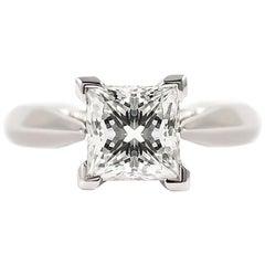 J. Birnbach GIA Certified 1.52 Carat Princess Cut Solitaire Diamond Ring