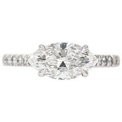 J. Birnbach GIA Certified 1.56 Carat Marquise Diamond Ring