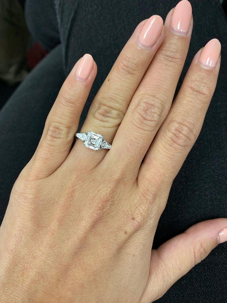 Art Deco J. Birnbach GIA Certified 1.60 Carat Asscher Cut Diamond Three-Stone Ring For Sale