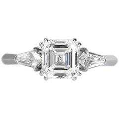 J. Birnbach GIA Certified 1.60 Carat Asscher Cut Diamond Three-Stone Ring