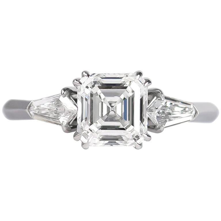 J. Birnbach GIA Certified 1.60 Carat Asscher Cut Diamond Three-Stone Ring For Sale