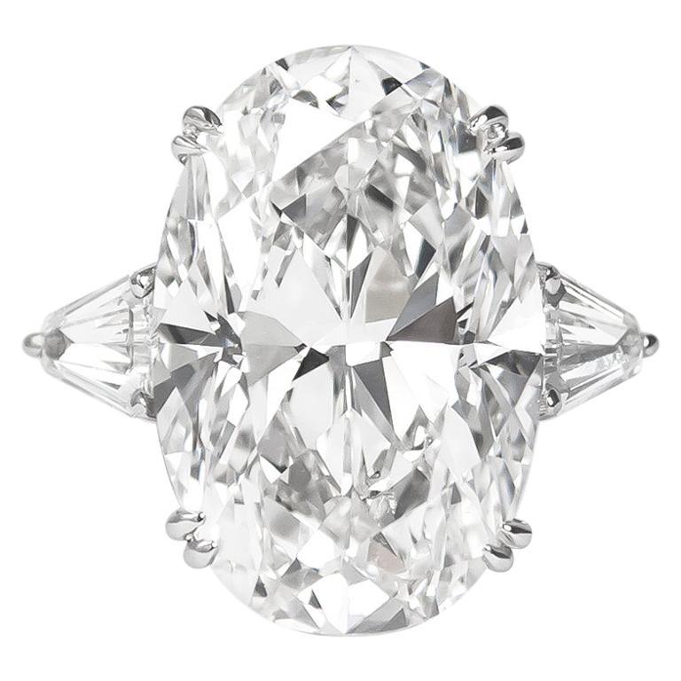 J. Birnbach GIA Certified 16.37 Carat Oval Diamond Three-Stone Platinum Ring
