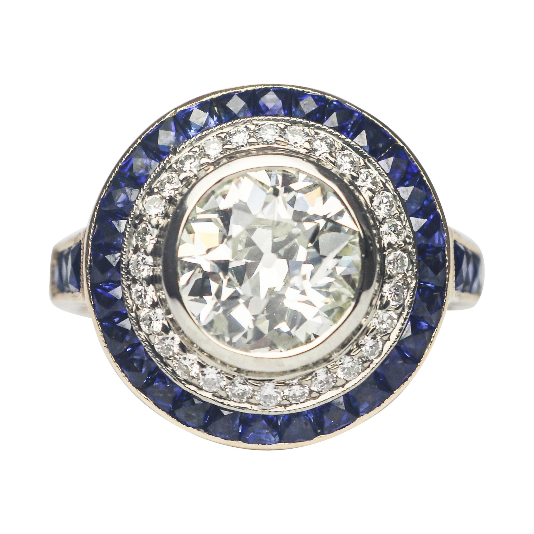 J. Birnbach GIA Certified 1.68 Carat Old European Cut and Sapphire Vintage Ring