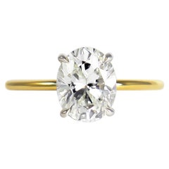 J. Birnbach GIA Certified 1.73 Carat Oval Brilliant Cut Diamond Solitaire Ring
