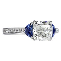 J. Birnbach GIA Certified 1.84 Ct Cushion Diamond and Sapphire Three-Stone Ring