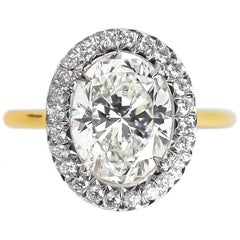 J. Birnbach GIA Certified 2.00 Carat F SI1 Oval Diamond Ring