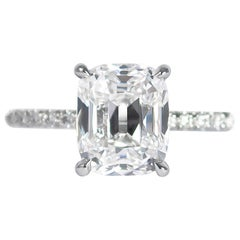 J. Birnbach GIA Certified 2.03 Carat D SI1 Cushion Brilliant Diamond Ring