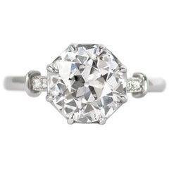 J. Birnbach GIA Certified 2.03 Carat E SI1 Old European Cut Diamond Ring