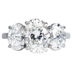 J. Birnbach GIA Certified 2.03 Carat Oval Diamond Three-Stone Ring