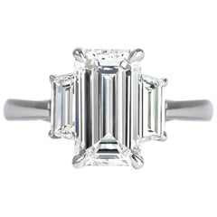 J. Birnbach GIA Certified 2.04 Carat Emerald Cut Diamond Three-Stone Ring