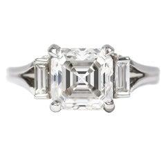J. Birnbach GIA Certified 2.06 Carat F VS2 Asscher Cut Diamond Ring