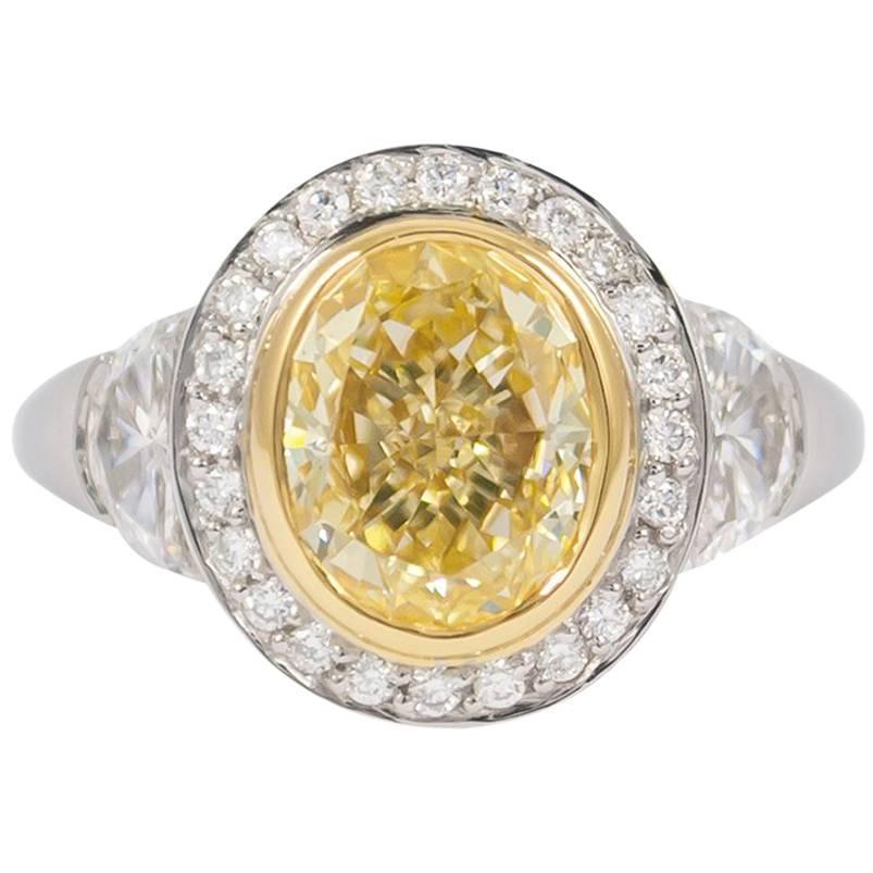 J. Birnbach GIA Certified 2.07 Carat Fancy Yellow Oval Diamond Ring