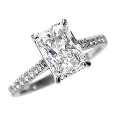 J. Birnbach GIA Certified 2.08 Carat D VS1 Radiant Cut Diamond Solitaire Ring