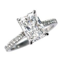 J. Birnbach GIA Certified 2.08 Carat D VS1 Radiant Cut Diamond Solitaire Ring
