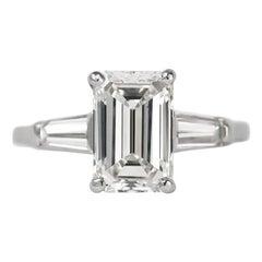 J. Birnbach GIA Certified 2.09 Carat I SI1 Emerald Cut Diamond Ring