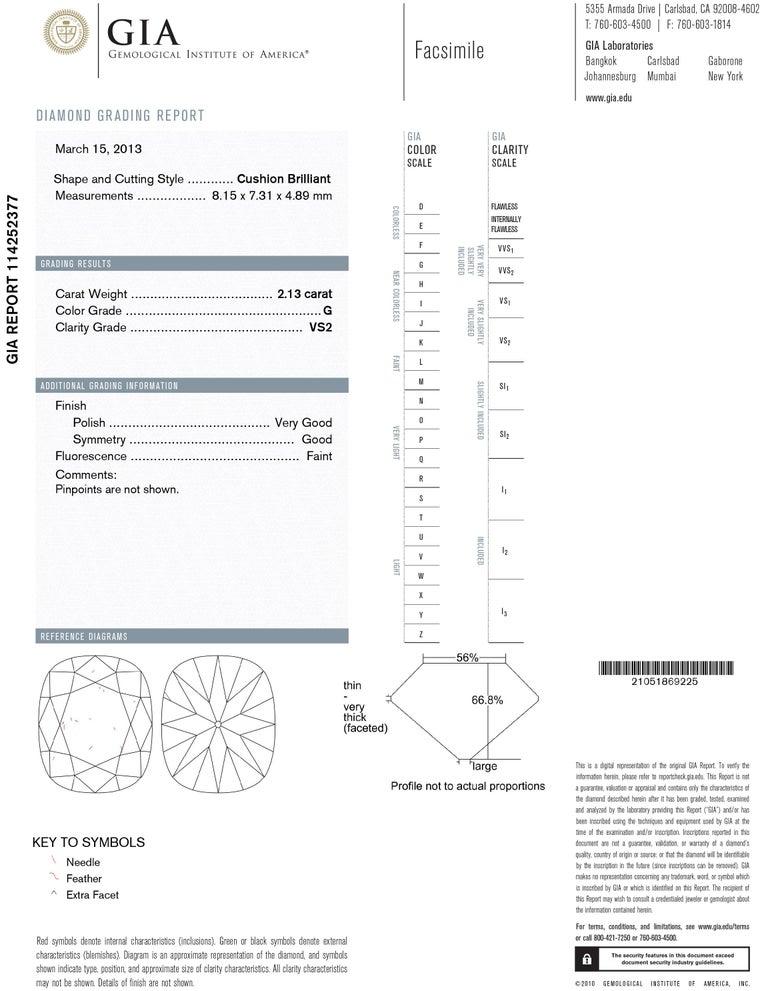 Cushion Cut J. Birnbach GIA Certified 2.13 Ct Cushion Brilliant Cut Diamond Solitaire Ring For Sale