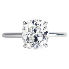 J. Birnbach GIA Certified 2.13 Ct Cushion Brilliant Cut Diamond Solitaire Ring